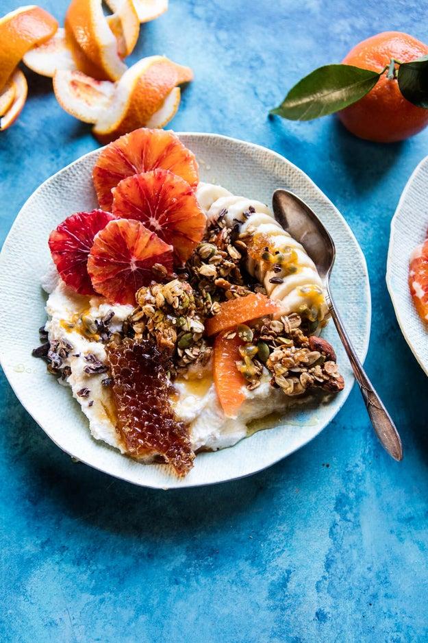 Winter Citrus Ricotta Breakfast Bowl With Honeycomb