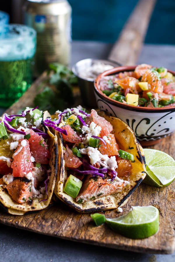Cuban Fish Tacos With Citrus Mango Slaw and Chipotle Lime Crema