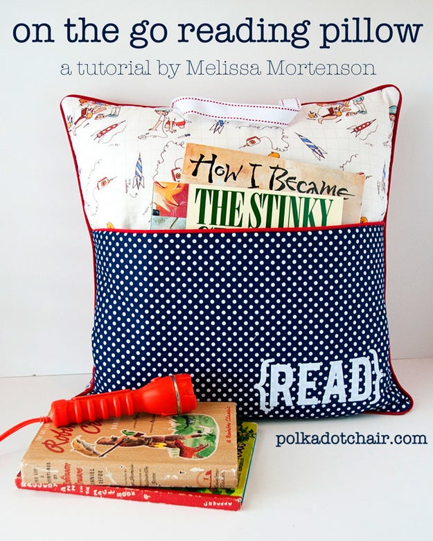 Stash your books in a pocket pillow so you never lose track of your current reading material.