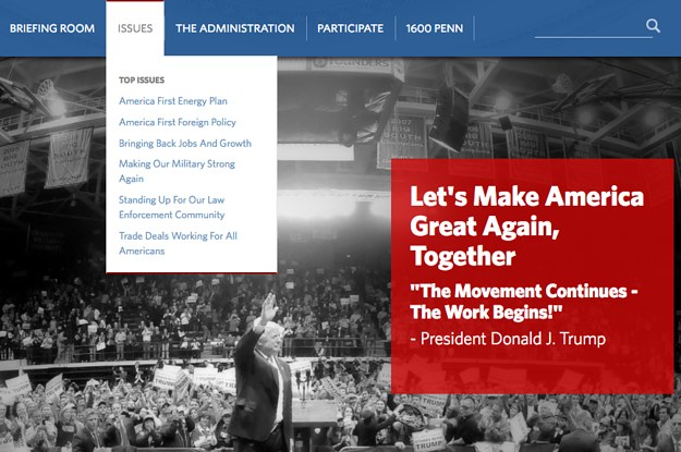Trump White House Takes Down Website >> Let S Calm Down About Pages Disappearing From The White House Website