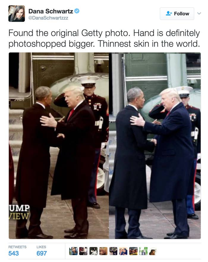 Schwartz referred this new side-by-side to skeptics, and maintained the photo was altered. (Her tweet has since been deleted.)For quick reference, the photo on the right in Schwartz's updated tweet is supposedly taken from Getty Images' news wire, and the photo on the left was a screenshot someone had taken from an ABC News TV special. ABC News confirmed to BuzzFeed News the photo that was used in the special was a press photo.