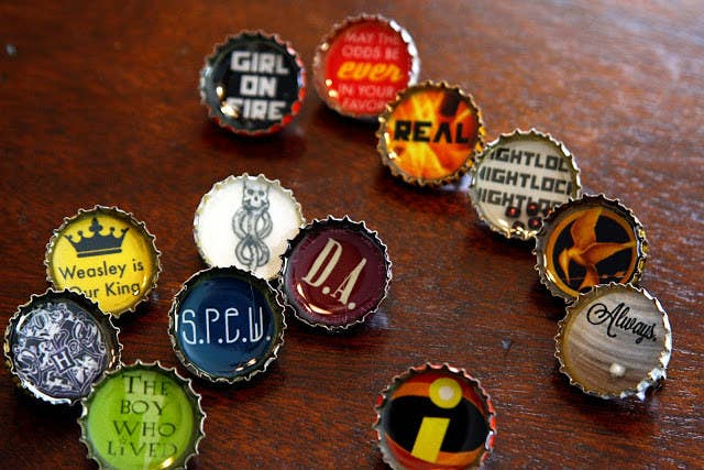27 harry potter diys that are basically magic 4 print and paste your own spew buttons on saved bottle caps solutioingenieria Choice Image