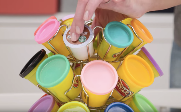 Store Play-Doh in a carousel for k-cups — it makes it easy for your kids to find the color they want and looks cool.