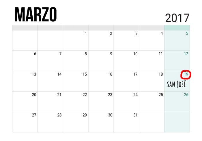 El 19 de marzo y el 1 de mayo (por San José Obrero), en el Día del Trabajo.