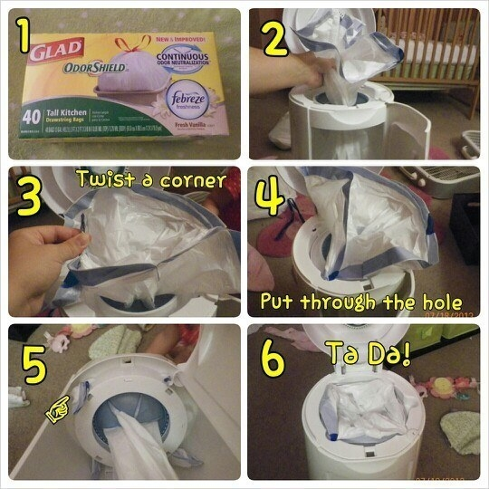 Out of your diaper pail's refill bags? Use a trash bag instead.
