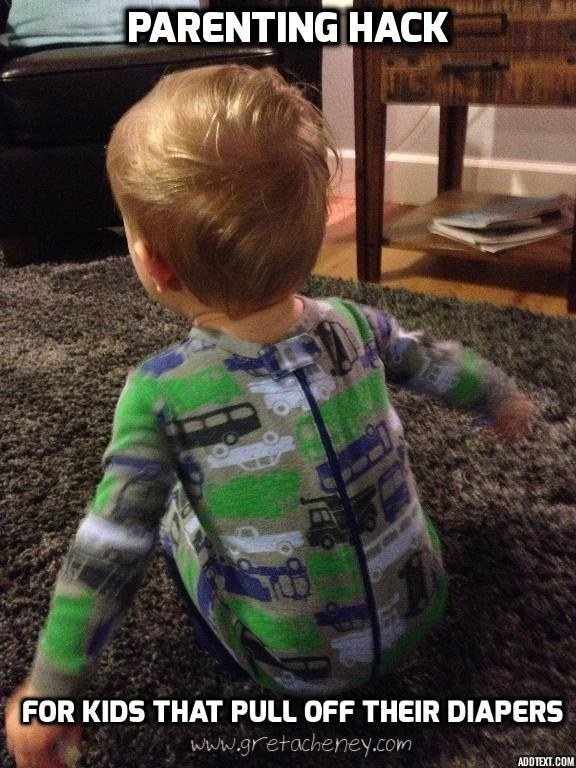 Have a kid who constantly pulls off their diaper (or strips naked)? Try putting their onesie on backwards.