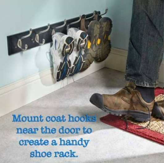 Stop your kids from misplacing their shoes by placing a shoe rack by the front door.