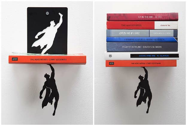 A collage showing the Superman book stand on a wall with various books on it.