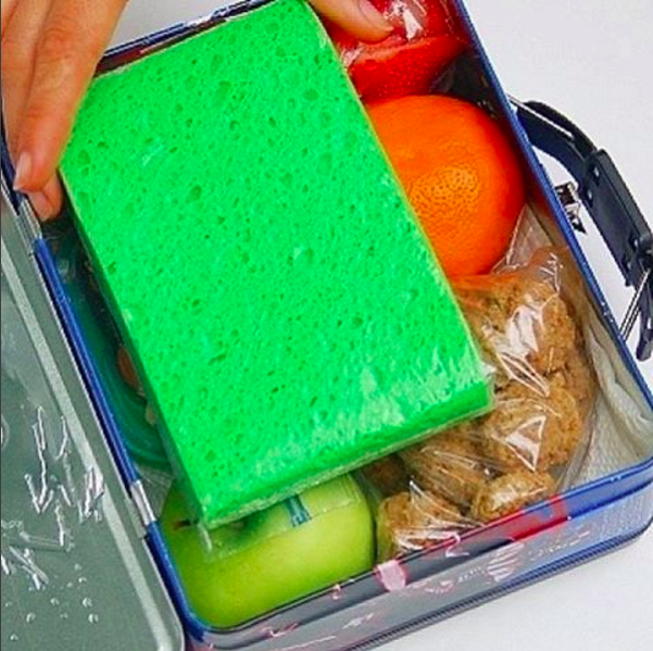 A frozen sponge in a ziplock bag makes a super affordable ice pack you won't mind your kid losing.