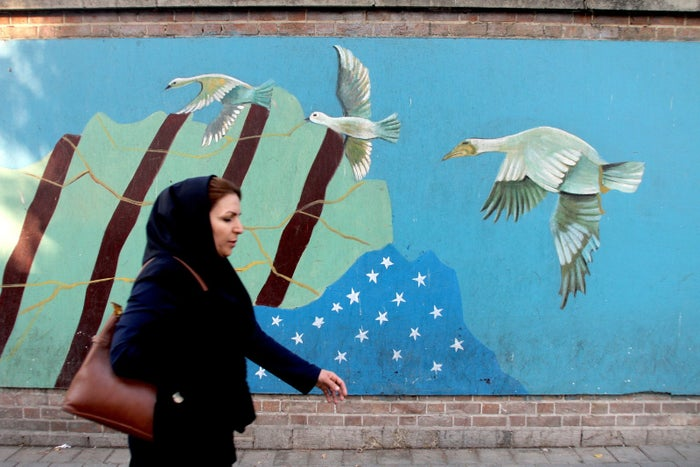 An Iranian woman outside the US embassy in Tehran in November.