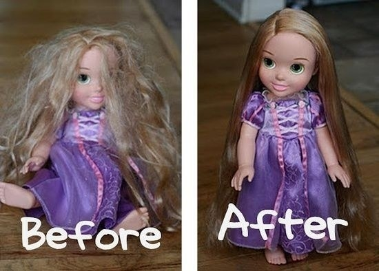 To detangle doll hair, fill a small spray bottle with fabric softener and water.