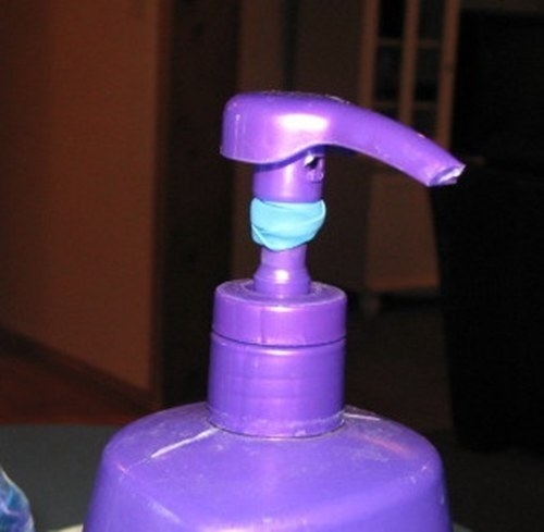 Stop your kid from squirting out too much soap by adding a rubber band to the head of the dispenser's pump.