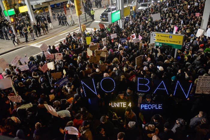 Protesters at John F. Kennedy International Airport.