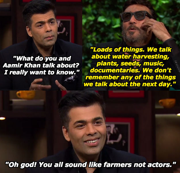 When Karan couldn't handle the topics of discussions between Jackie and Aamir Khan.