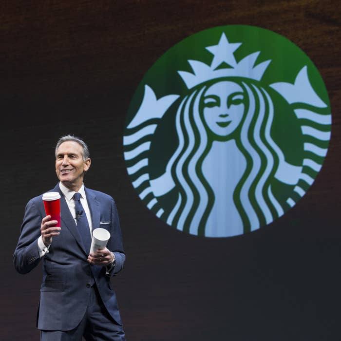 Starbucks CEO Howard Schultz at the 2016 shareholders meeting in Seattle.