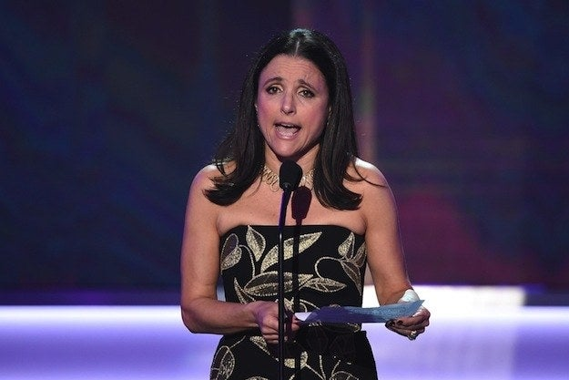 """I want you all to know that I'm the daughter of an immigrant,"" the Veep star said, accepting the award for Outstanding Performance by a Female Actor in a Comedy Series. ""My father fled religious persecution in Nazi-occupied France. I'm an American patriot and I love this country. Because I love this country, I am horrified by its blemishes. And this immigrant ban is a blemish and it's un-American. Our guilds are unions of storytellers who have always welcomed those from other nations, and of varying beliefs, who wish to share their creativity with America. We are grateful to them. We stand with them. We will fight for them."""