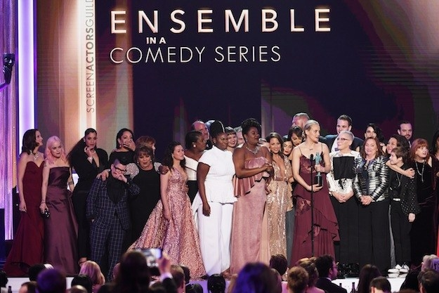 """When Taylor Schilling said on behalf of the Orange Is the New Black cast: """"We stand up here representing a diverse group of people, representing generations of families who have sought a better life here."""""""