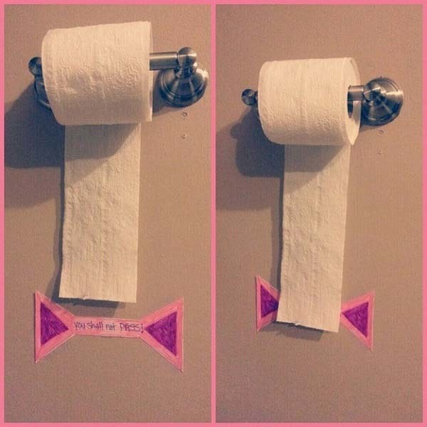 "Keep your kid from wasting toilet paper by putting a ""You shall not pass!"" line on the wall."