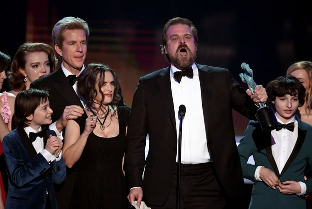As Stranger Things won a SAG Award for Outstanding Performance by an Ensemble in a Drama Series, David Harbour read a prepared speech aloud and Winona Ryder was...surprised.