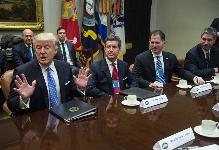 President Donald Trump meets with business leaders in the White House.