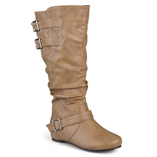 9ace5d87e8e Embrace your buckle obsession with these slouchy, low-wedge boots that'll  give you the teensiest lift.