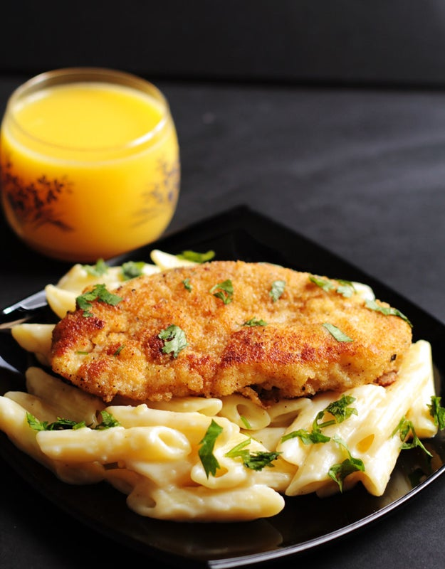 Crispy Lemon Chicken With Creamy Garlic Penne Pasta