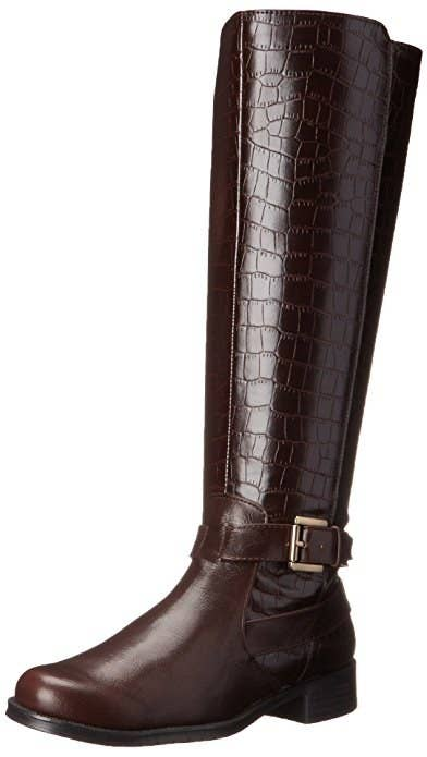 f66a2a339c37 Add some serious texture to a dress and pair of opaque tights with these  Aerosoles crocodile-look riding boots.