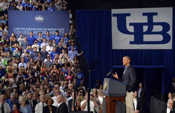 President Obama speaks at the University at Buffalo in New York.