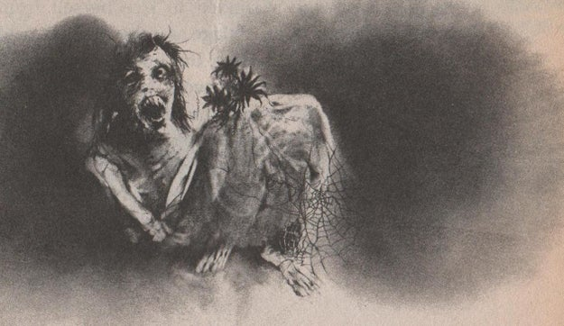 The artwork from Scary Stories to Tell in The Dark books...