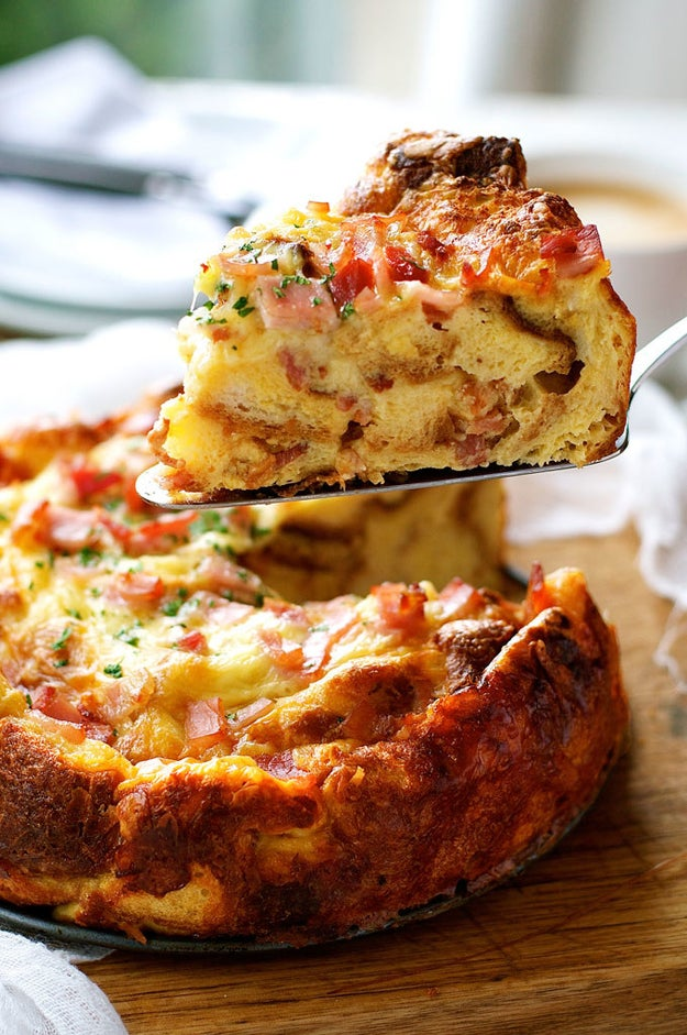 Cheese and Bacon Breakfast Strata Cake