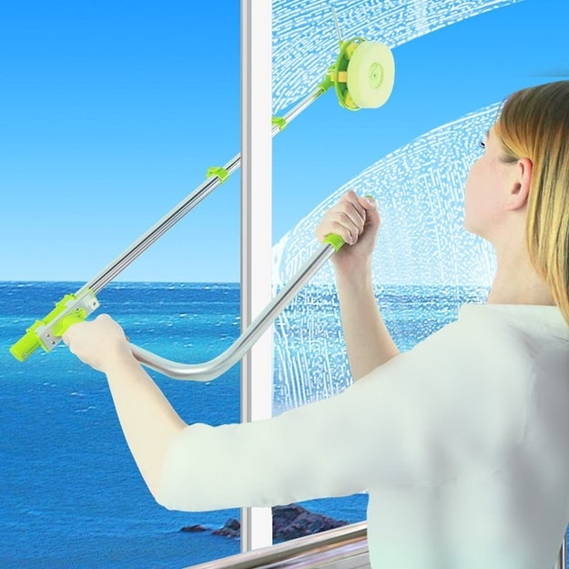 Finally get the outside of your second-story windows clean with a telescopic tool that you can use from inside your house.