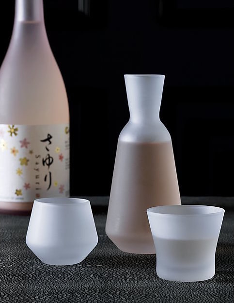 Frosted sake glasses that class up any drinking binge.