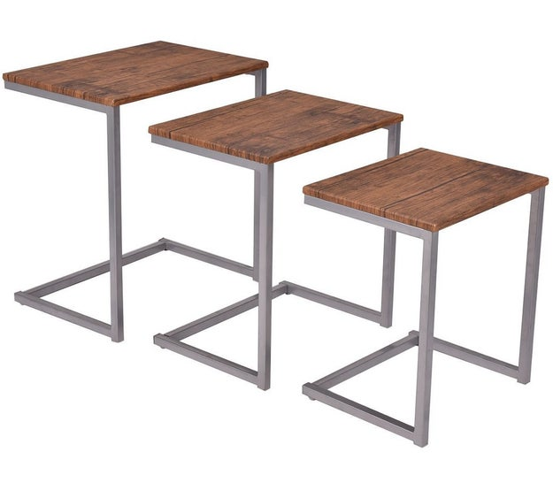 A set of nesting tables that turns any sofa into a comfy work space.