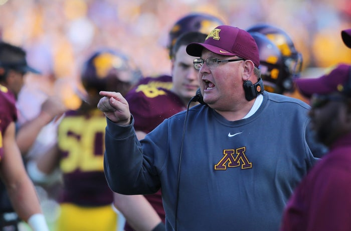 Head coach Tracy Claeys of the Minnesota Golden Gophers