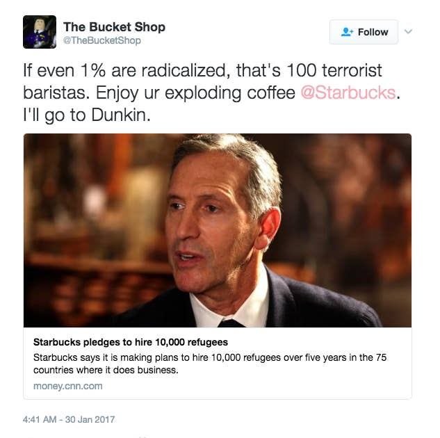 Image result for tweets about starbucks and refugees
