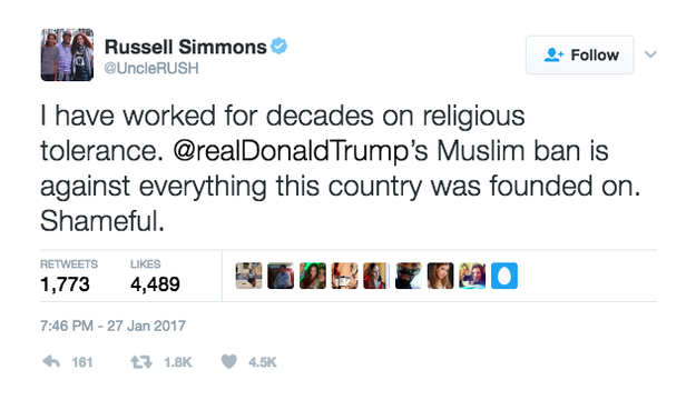 Some celebrities condemned the ban on social media, including Michael Moore, Russell Simmons, and Kumail Nanjiani.