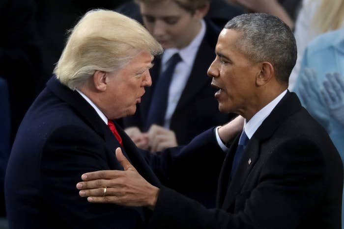 """This is the first time Obama has weighed in on Trump's presidency since he left office earlier this month. During his final press conference as president, Obama had said that he would not stay silent if Trump instituted policies of """"systematic discrimination"""" where the country's """"core values may be at stake."""""""
