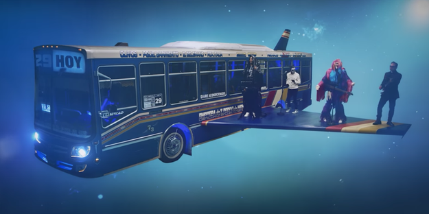 The whole video takes place on a party bus with wings, that's flying high above the air.