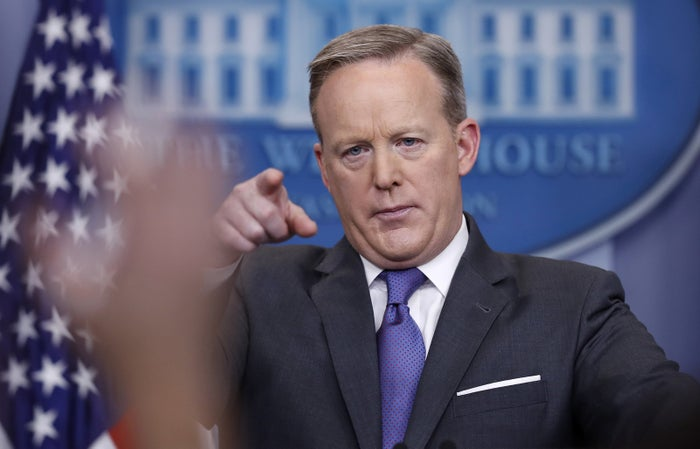 Sean Spicer during a news briefing at the White House Monday.