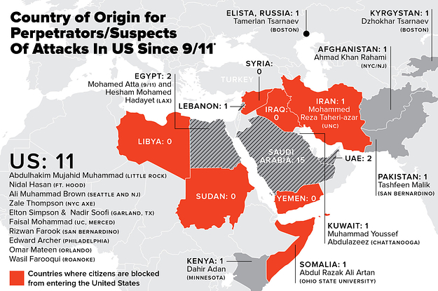 This Map Might Make You Think Twice About Trumps Immigration Ban - Map of countries in us travel ban