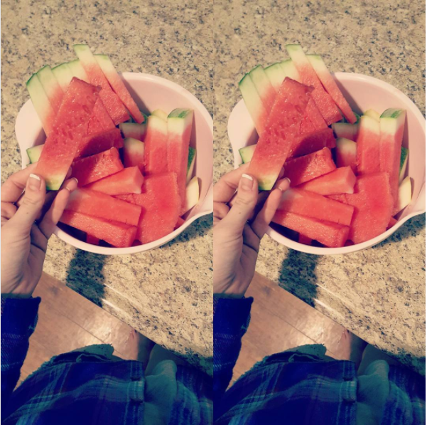 Make watermelon easier for kids to eat by cutting it into little sticks.
