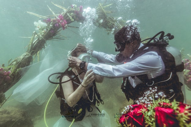 In a Christian ceremony, the couple exchanged rings and garlands made of sea shells.