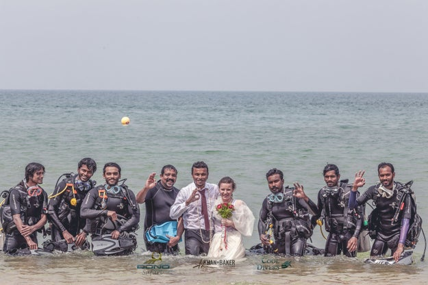 The 90-minute ceremony was attended by the couple's close family and friends, and was organised by Bond Ocean Safari, the company Nikhil works for.