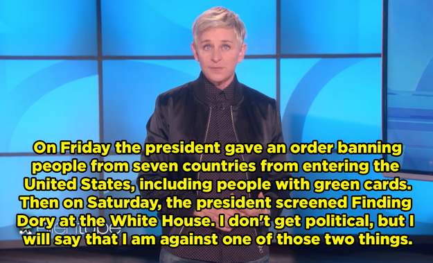 Ellen Degeneres took some time on Monday's show to address the recent executive action on immigration.