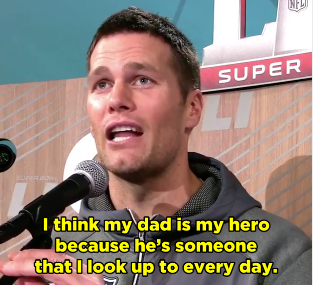 When Tom explained that his dad was his hero, he choked up, pausing to regain his composure.