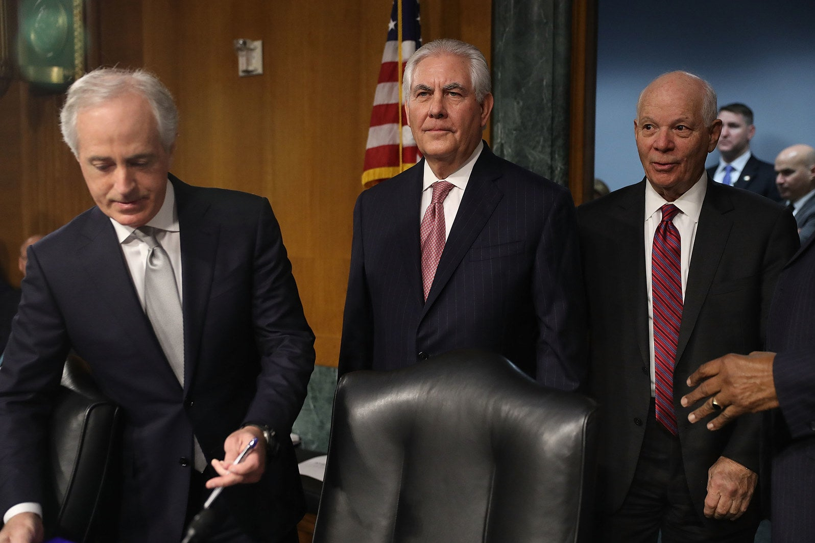 Rex Tillerson (center) with Sen. Ben Cardin (right) during a Senate Foreign Relations Committee hearing in January.