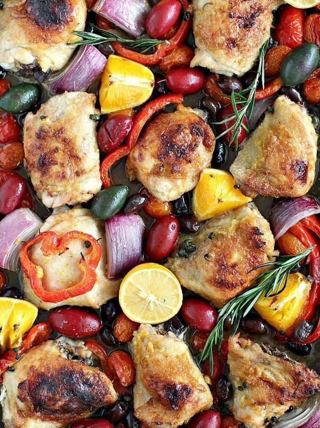 One Sheet Pan Mediterranean Chicken