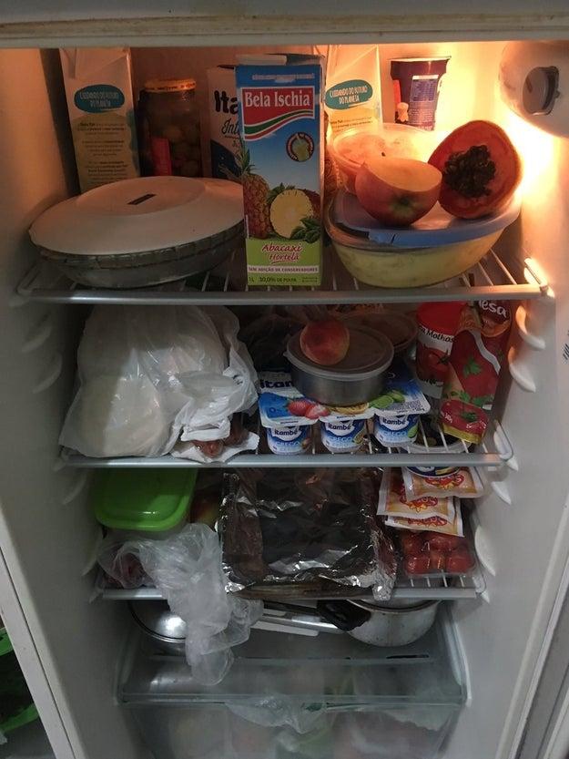 Começa que sua mãe sempre PRECISAVA ir ao mercado, mesmo se a geladeira estivesse assim: