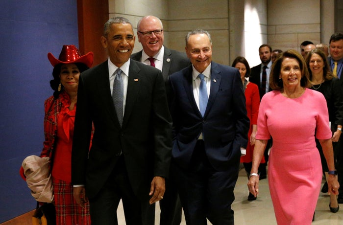 President Barack Obama arrives to meet with House and Senate Democrats to discuss a strategy on congressional Republicans' effort to repeal the Affordable Care Act.