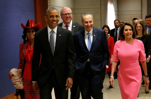 Obama, Schumer, Pelosi with idiot grins